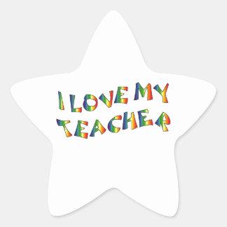 Amo mi aprecio del arco iris del profesor pegatina en forma de estrella
