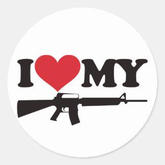 Amo mi AR15 Pegatina Redonda