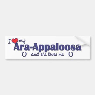 Amo mi Ara-Appaloosa (el caballo femenino) Etiqueta De Parachoque