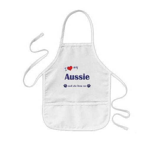 Amo mi australiano (el perro femenino) delantales