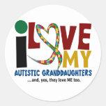 Amo mi AUTISMO autístico de las nietas 2 Etiquetas Redondas