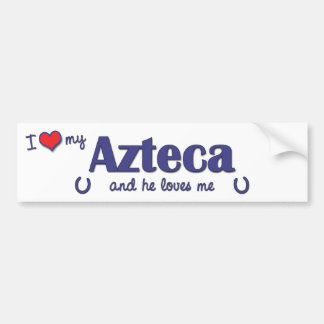 Amo mi Azteca (el caballo masculino) Etiqueta De Parachoque
