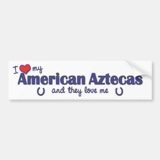 Amo mi Aztecas americano (los caballos múltiples) Pegatina De Parachoque