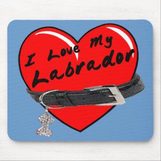 Amo mi azul Mousepad de Labrador