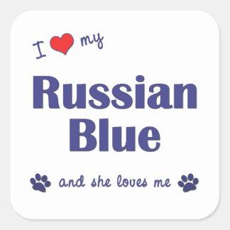Amo mi azul ruso (el gato femenino) calcomanías cuadradass personalizadas