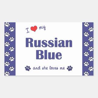 Amo mi azul ruso (el gato femenino) rectangular altavoz