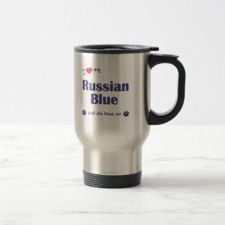 Amo mi azul ruso (el gato femenino) taza de viaje