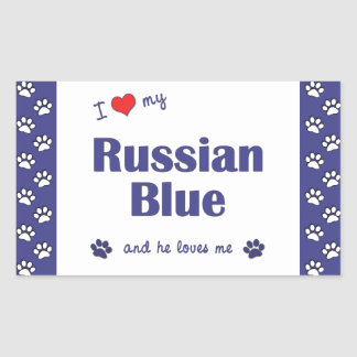 Amo mi azul ruso (el gato masculino) rectangular altavoces