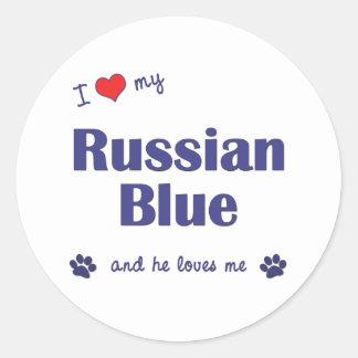 Amo mi azul ruso (el gato masculino) pegatina redonda