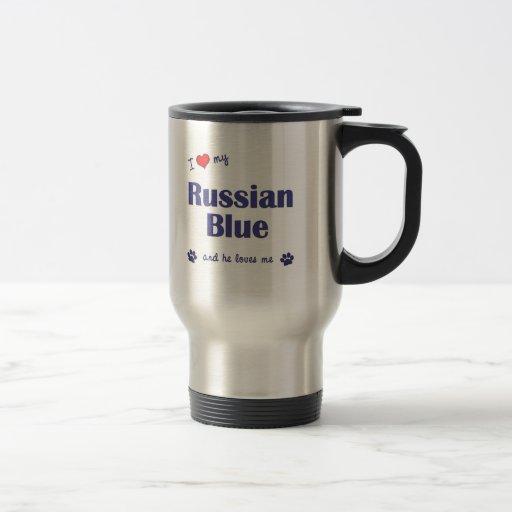 Amo mi azul ruso (el gato masculino) taza de café