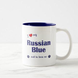 Amo mi azul ruso (el gato masculino) taza de dos tonos