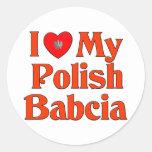 Amo mi Babcia polaco (la abuela) Pegatinas Redondas
