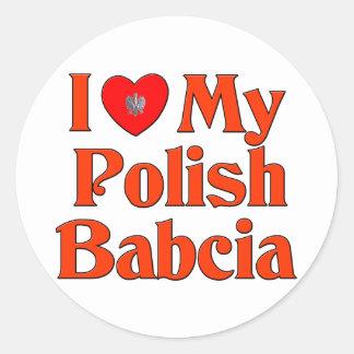 Amo mi Babcia polaco la abuela Pegatinas Redondas