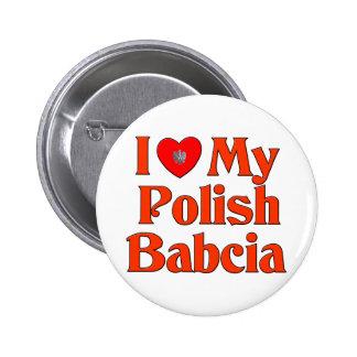 Amo mi Babcia polaco (la abuela) Pin Redondo De 2 Pulgadas