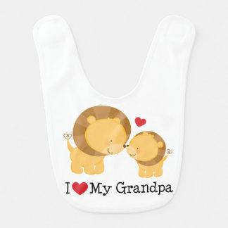 Amo mi babero del niño del bebé del abuelo