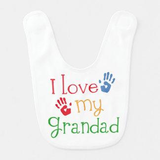Amo mi babero del niño del bebé del Grandad