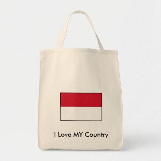 Amo MI bandera de Indonesia del país Bolsa Tela Para La Compra