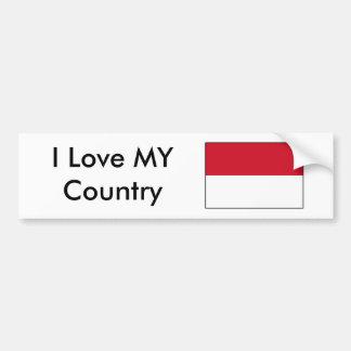 Amo MI bandera de Indonesia del país Etiqueta De Parachoque