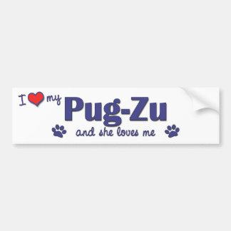 Amo mi Barro amasado-Zu (el perro femenino) Pegatina De Parachoque