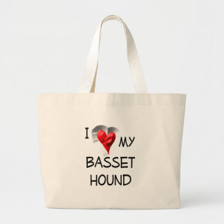 Amo mi Basset Hound Bolsa Tela Grande