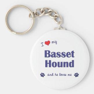 Amo mi Basset Hound (el perro masculino) Llavero