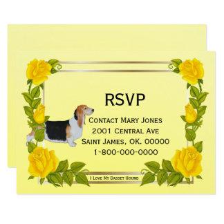 """Amo mi Basset Hound, rosas amarillos, RSVP Invitación 3.5"""" X 5"""""""