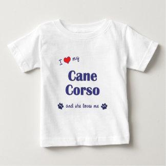 Amo mi bastón Corso (el perro femenino) Playera De Bebé