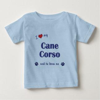 Amo mi bastón Corso (el perro masculino) Playera De Bebé