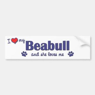 Amo mi Beabull (el perro femenino) Pegatina Para Auto