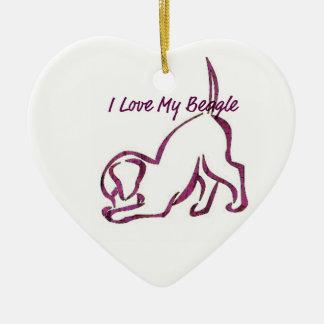 Amo mi beagle adorno navideño de cerámica en forma de corazón