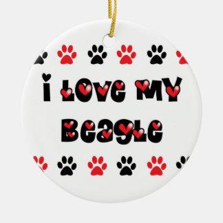 Amo mi beagle adorno navideño redondo de cerámica