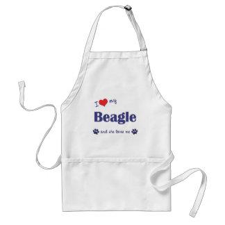 Amo mi beagle el perro femenino delantal