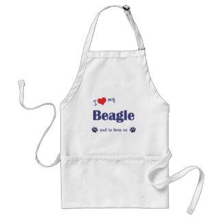 Amo mi beagle el perro masculino delantales