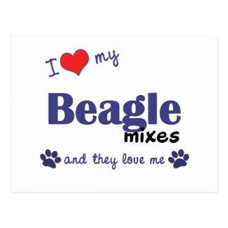 Amo mi beagle me mezclo (los perros múltiples) tarjetas postales