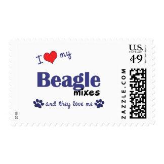 Amo mi beagle me mezclo (los perros múltiples) timbres postales