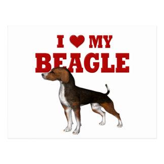 Amo mi beagle tarjeta postal