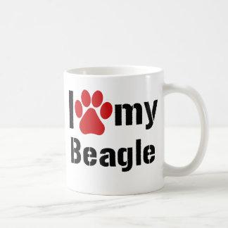 Amo mi beagle taza básica blanca