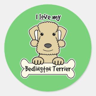 Amo mi Bedlington Terrier Etiqueta Redonda