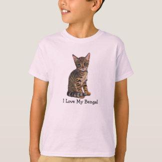 Amo mi Bengala, gatito, gato en lápiz del color Playera