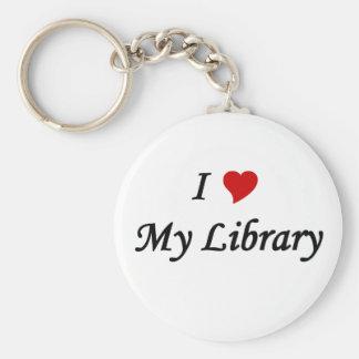 Amo mi biblioteca llavero redondo tipo pin