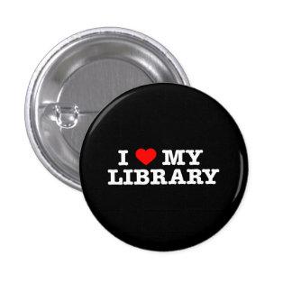 Amo mi biblioteca pin redondo de 1 pulgada
