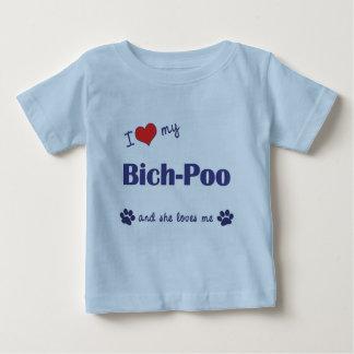 Amo mi Bich-Poo (el perro femenino) Playera De Bebé
