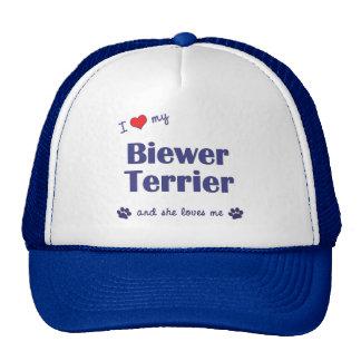 Amo mi Biewer Terrier (el perro femenino) Gorras