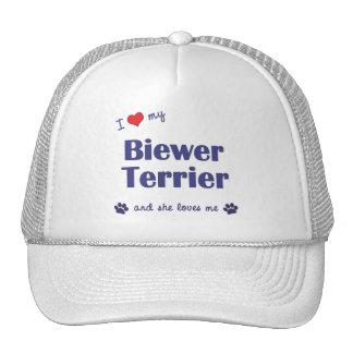 Amo mi Biewer Terrier (el perro femenino) Gorras De Camionero
