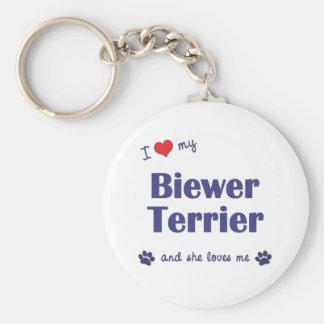 Amo mi Biewer Terrier (el perro femenino) Llavero
