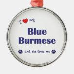 Amo mi birmano azul (el gato femenino) adorno para reyes