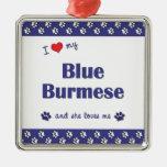Amo mi birmano azul (el gato femenino) adorno de navidad