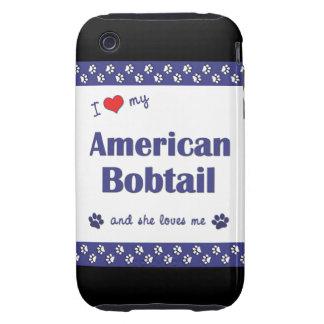 Amo mi Bobtail americano (el gato femenino) iPhone 3 Tough Fundas