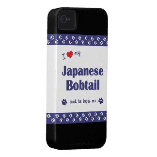 Amo mi Bobtail japonés (el gato masculino) iPhone 4 Protectores