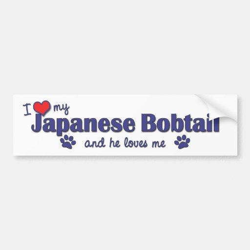 Amo mi Bobtail japonés (el gato masculino) Pegatina Para Auto